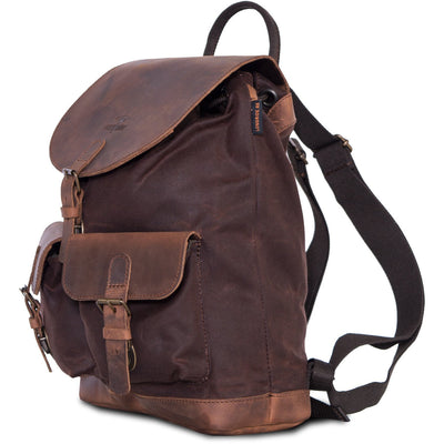 Brown scrambler motorbike backpack.