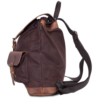 Brown waxed cotton and leather scrambler backpack.