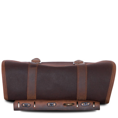 Cafe racer style pannier motorcycle saddlebag in brown.