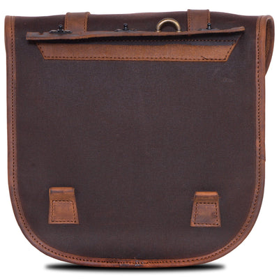 Waterproof pannier bag motorcycle in brown canvas.