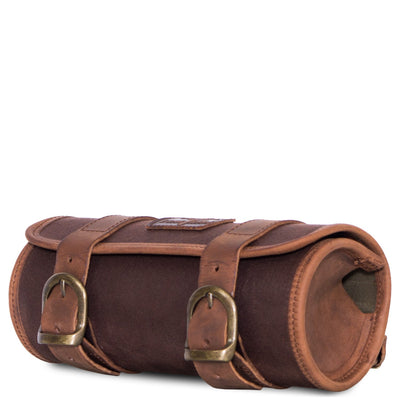 Brown motorcycle fork tool bag in waxed cotton and leather.