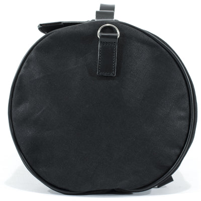 Large black duffle motorcycle bag in waterproof waxed cotton and leather.