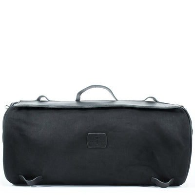 Large black duffel bag for bikers.