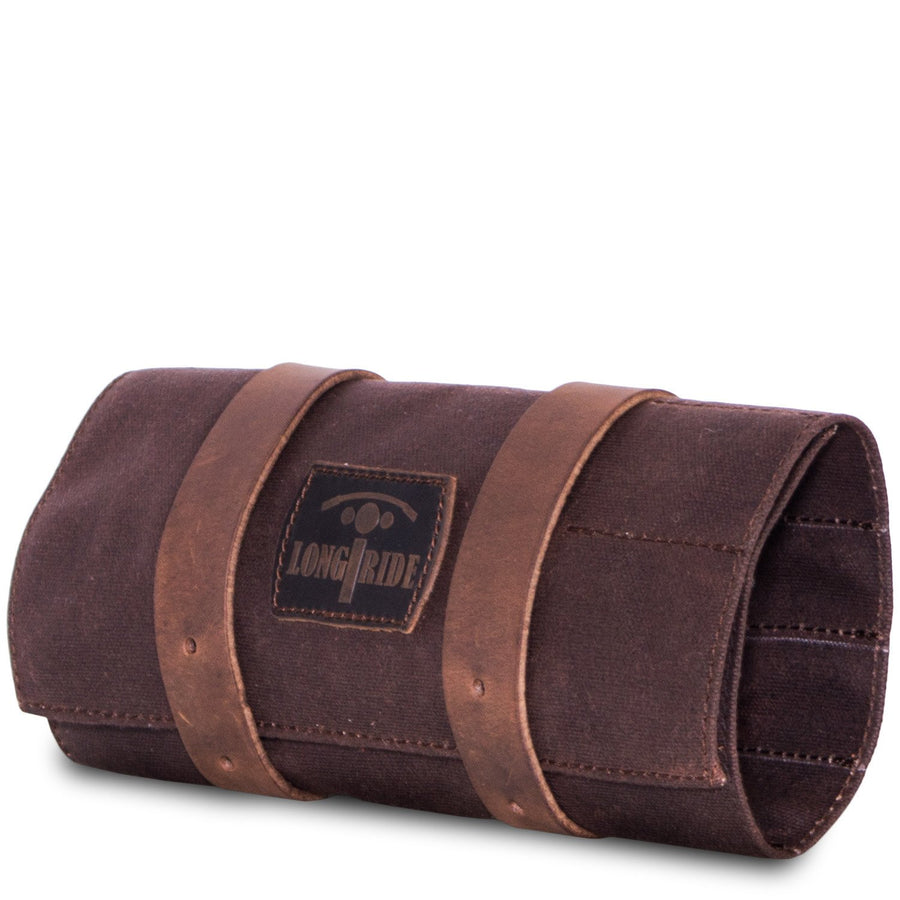 brown canvas cafe racer tool roll bag.
