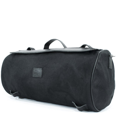 Large black tail bag for motorcycle.