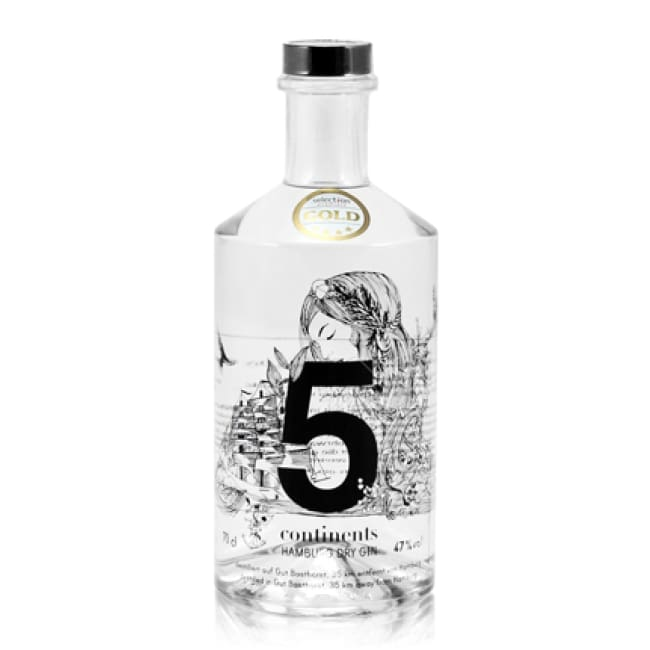 PRICE CUT LAST FEW BOTTLES - 5 Continents - German Premium Gin - Only Here 4 by HG&S Ltd