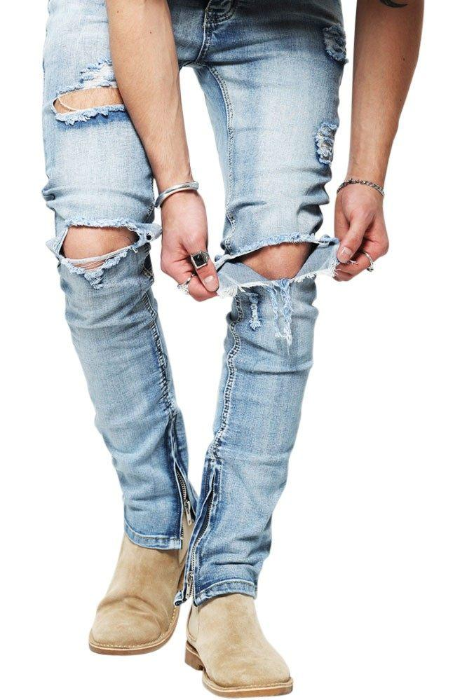 Blue Distressed Zip Slimfit Jeans