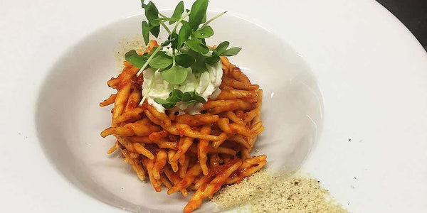 RECIPES - Trofie with 'Nduja sauce, gorgonzola foam, breadcrumbs, and fennel seeds