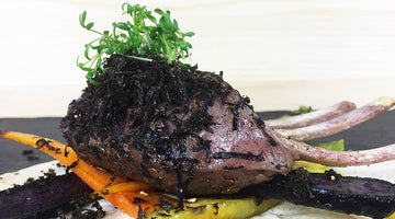 RECIPES - Slow cooked rack of lamb with hazelnut cream, rainbow carrots and black truffle