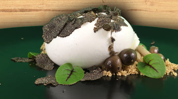 RECIPES - Burrata with hazelnut soil, whisky scented Shimeji mushroom and black truffle