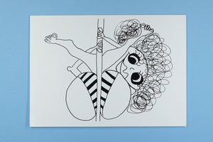 Blank Occasion Card Pole Dancing Lady