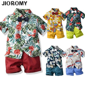 Summer Style Children Clothing Sets Tops Shorts Belt 3 Pcs Set Boys T Pants Sports Suit Kids Clothes