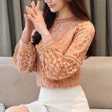 Long Sleeve Hollow Lace Blouse