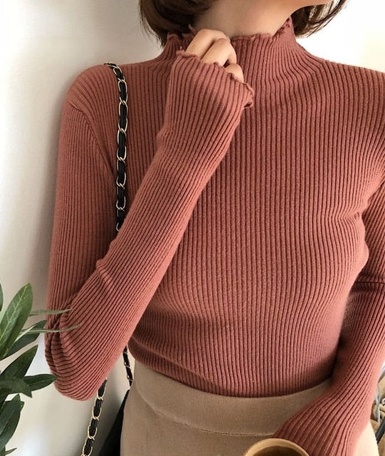 Turtleneck Ruched Slim Knitted Pullovers