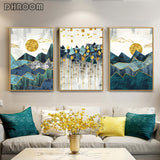 Nordic Abstract Wall Art Geometric Mountain Landscape & Golden Sun Art Poster Print