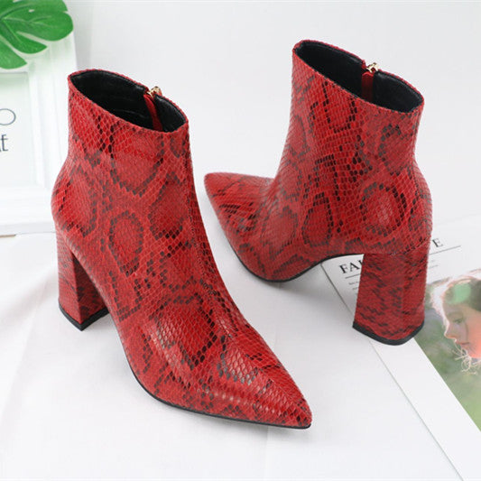 Print Snake Pu Women Ankle Boots