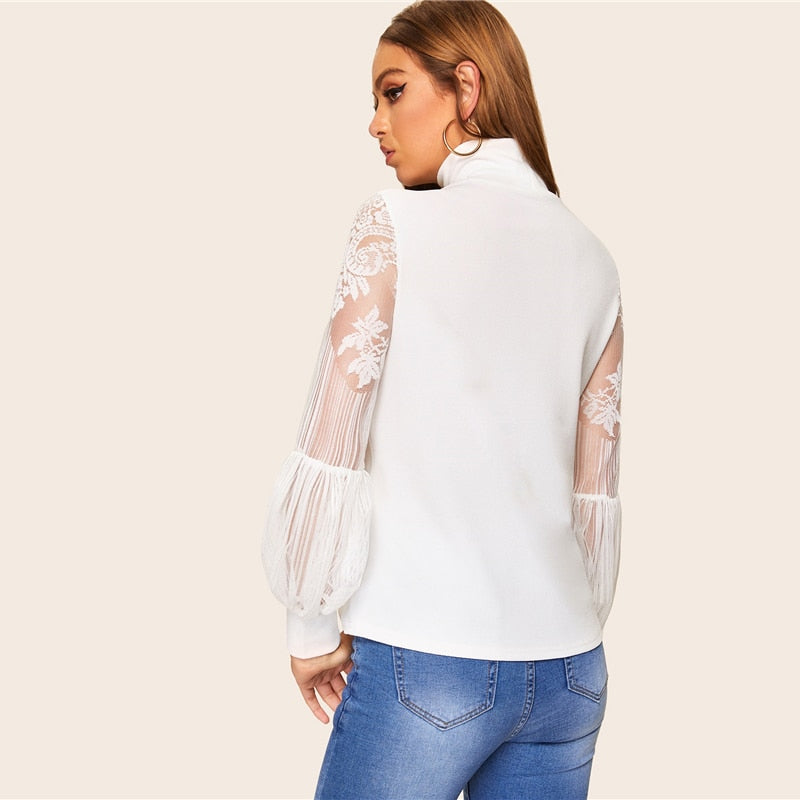 Mesh White High Neck Lace Balloon Sleeve Blouse