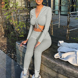 Two Piece Sets V-neck Long Sleeve Sets Streetwear Tracksuits