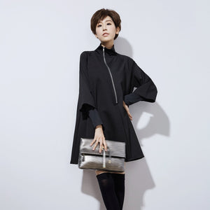 High Collar Long Sleeve Black Oblique Zipper Split Joint Loose Dress