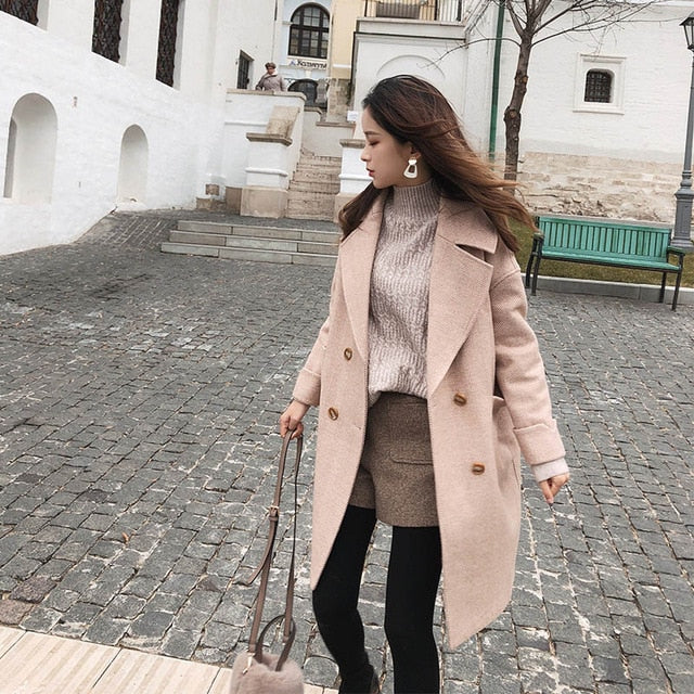 Woolen Mid-Long New Korean Temperament Coat