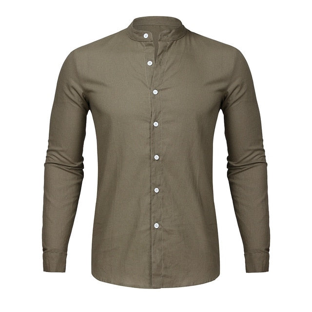 Men's Casual O-Neck Button Solid Beach Long Sleeve Top Blouse