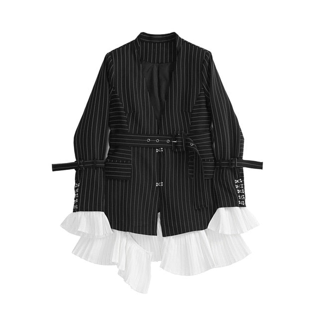 Long Sleeve Black Striped Stitch Loose Jacket