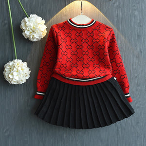 Set Long Sleeve Sweater Shirt and Skirt 2 Pcs