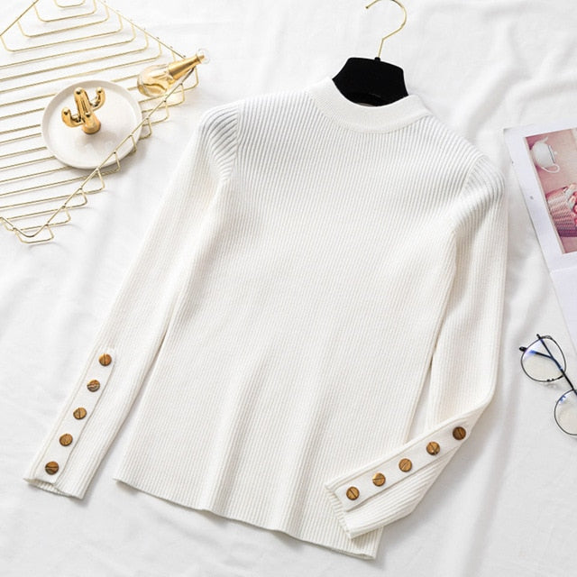 Casual winter women thick sweater pullovers long sleeve button o-neck chic Sweater Female Slim knit top soft jumper tops