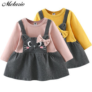 Melario Baby Dress Autumn baby girl dress full Sleeve Princess Dress Kids Clothes Cat Print Dress baby girl winter clothes