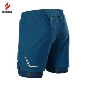 2 In 1 Men Running Shorts Reflective Quick Dry Compression