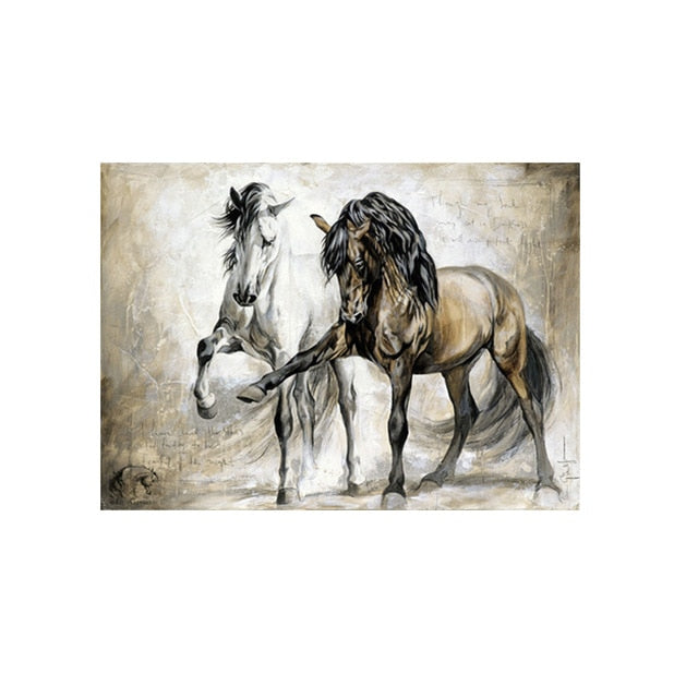SELFLESSLY ART Vintage Horse Painting Canvas Prints For Restaurant ,Bedroom Decor Modern Animal Decorative Paintings