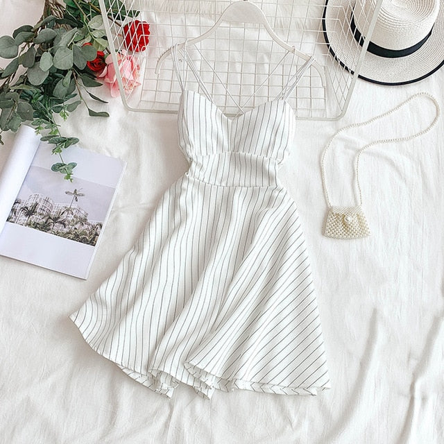 Backless Dress Retro Striped V-neck  Dress