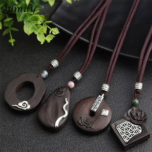 Handmade Vintage Ethnic Irregular Sandalwood Pendant Necklaces