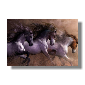 Animal Wall Art for Living Room Bedroom Home Decor Colorful Three Running Horses