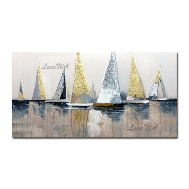 100% Handpainted Oil Painting On Canvas Color Sea Boat Oil Painting Abstract Modern Canvas Wall Art Living Room Decor Picture