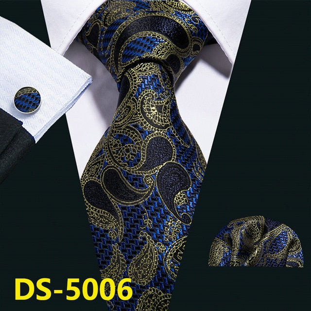 Gold Navy Striped 100% Silk Tie