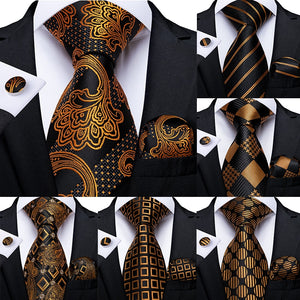 Gold Black Striped Paisley Silk Tie