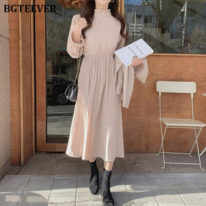 Elegant Stand Collar Flare Sleeve A-line Dress with Elastic Waist