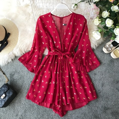 Deep V-neck Printed Chiffon Playsuit