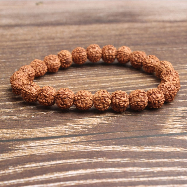 6/8/10mm Fashion natural Jewelry light tan rudraksha beads bracelet