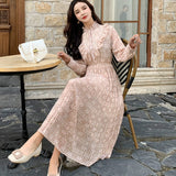 Chiffon Long Sleeve Printed Casual Pleated Dresses Elegant  A-line Vestidos