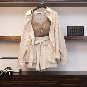 3 Piece Set Plaid Blouses Tank Tops Elastic Waist Belt Outfit