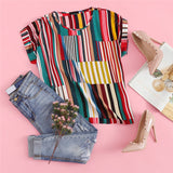 Multicolor Mix Striped Print Rolled Up Top
