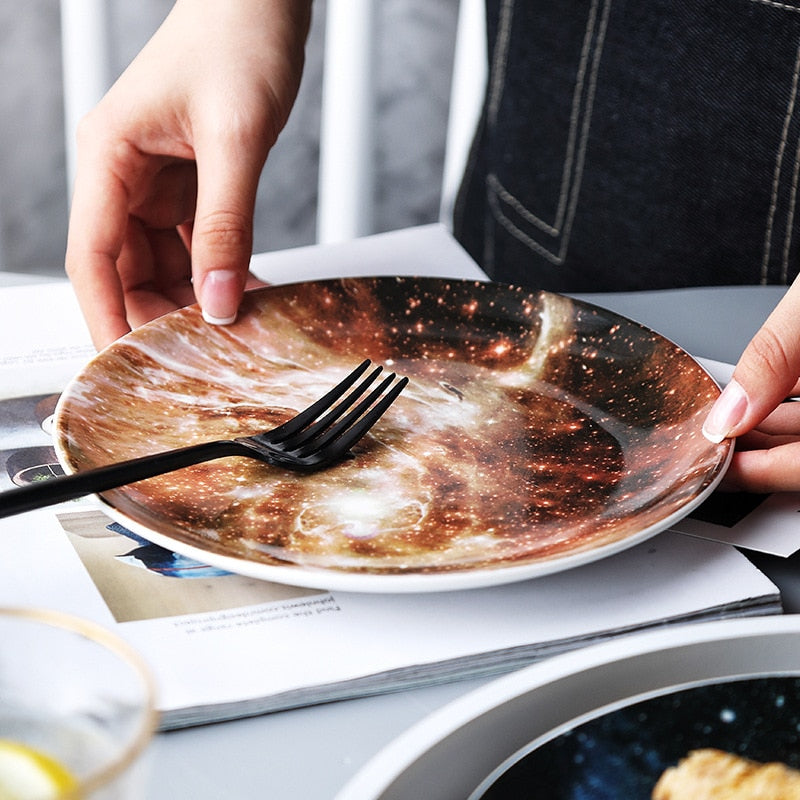 Nordic wind starry ceramic plate