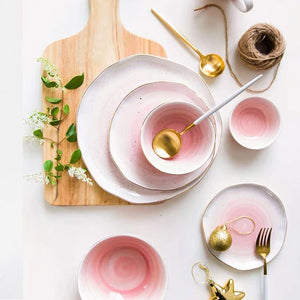 Nordic Color Changing Ceramic Plate with Golden Edge