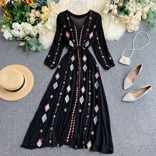 V Neck Long Sleeve Vestidos Elegant High Waist Embroidered Dress