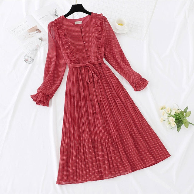 Vintage Dot Ruffles Butterfly Sleeve Dress with Belt