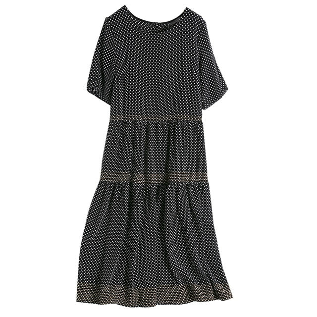 Polka Dotted Silk A-Line Round Collar Long Dress