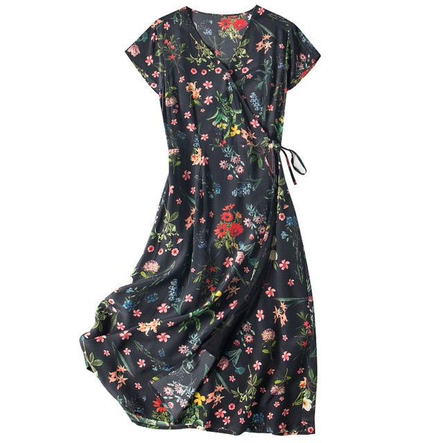 Floral V neck Sashes Wrap Dress