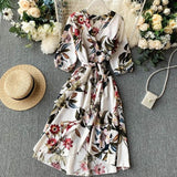 Vintage Slim V Neck Floral Print Irregular Dress Casual High Waist